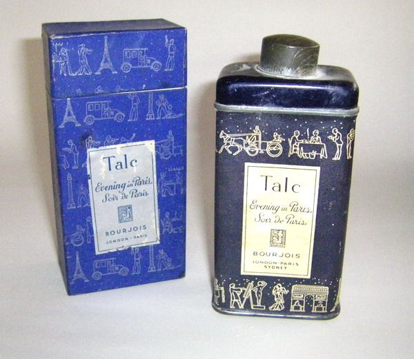 Evening in Paris talc box and shaker