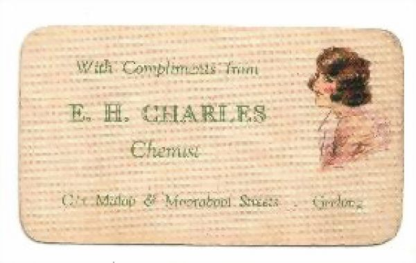 Charles Chemist Geelong with compliments card