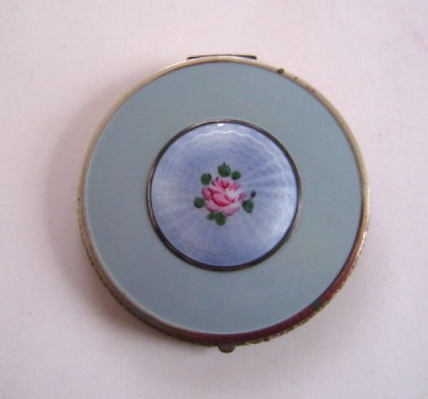 B B Co, blue compact with enamel floral centre