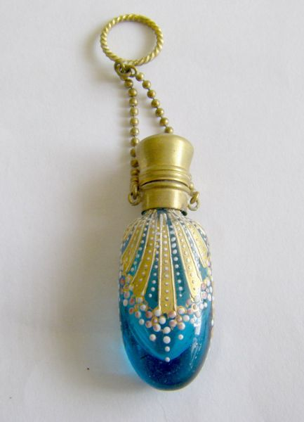 Victorian aqua glass chatelaine bottle
