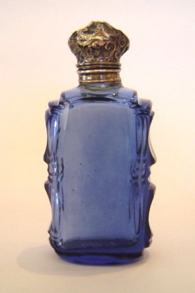 Blue glass with Silver Cap