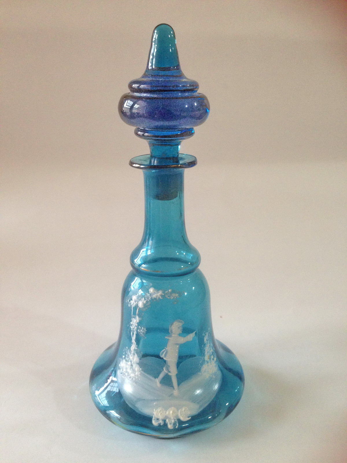 Mary Gregory blue glass perfume decanter