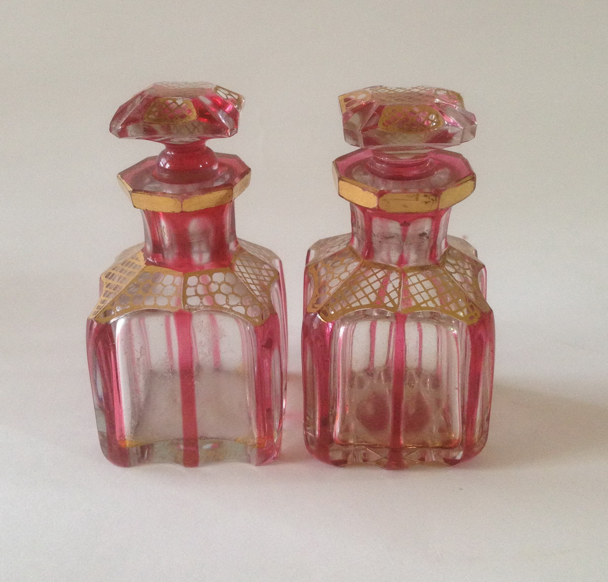Pair of Ruby Flashed Perfume Bottles