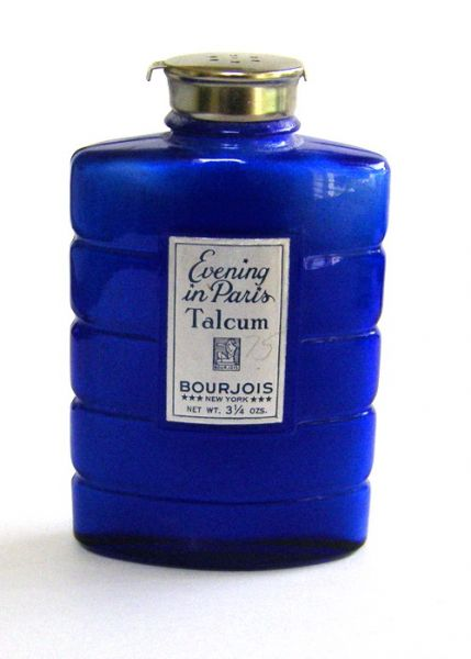 Evening in Paris Glass talcum bottle