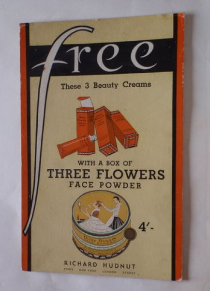 Richard Hudnut - Three Flowers counter display card