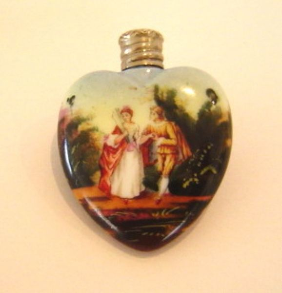 Heart shaped ceramic perfume bottle