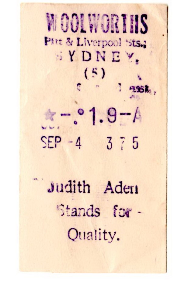 Judith Aden - cash register receipt