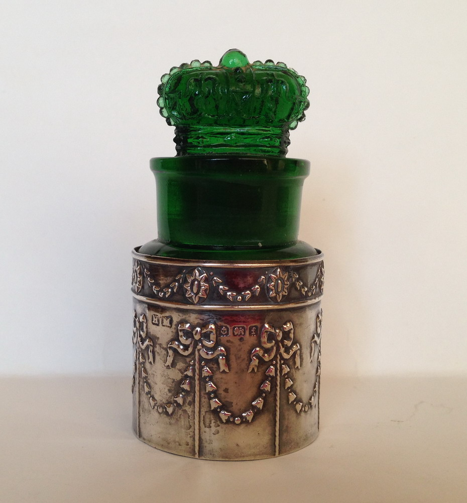 Crown Perfumery Salts in a silver holder